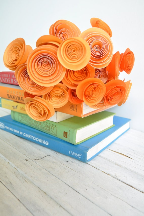24 Orange Paper Flowers on Stems- Bouquet of Paper Flowers-  Orange Wedding Decor