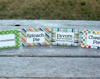 Polka Dots & Stripes // Birthday Food Tents, Party Food Labels