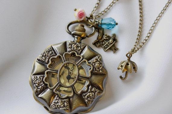 Alice in Wonderland  - Vintage Style Rose Garden Pocket Watch Necklace with Rose, Bunny & Umbrella Charm