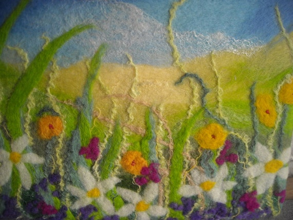 textured abstract flower picture, abstract art flowers, wet felted, fibre art