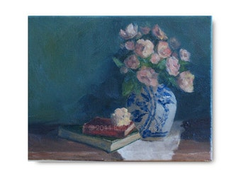 Original Still Life Oil Painting, Vintage Books, Peach Roses, pink, green, red, worn antique books, blue and white china vase, OOAK