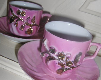 Pretty in Pink - Two Gold Encrusted Victorian Cup & Saucer Sets
