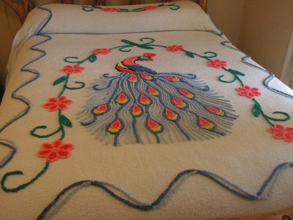 Vintage Chenille Peacock Bedspread