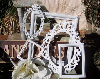 Shabby Chic Decor - Shabby Chic Frames - Set Of 5 Distressed Gallery Picture Frames