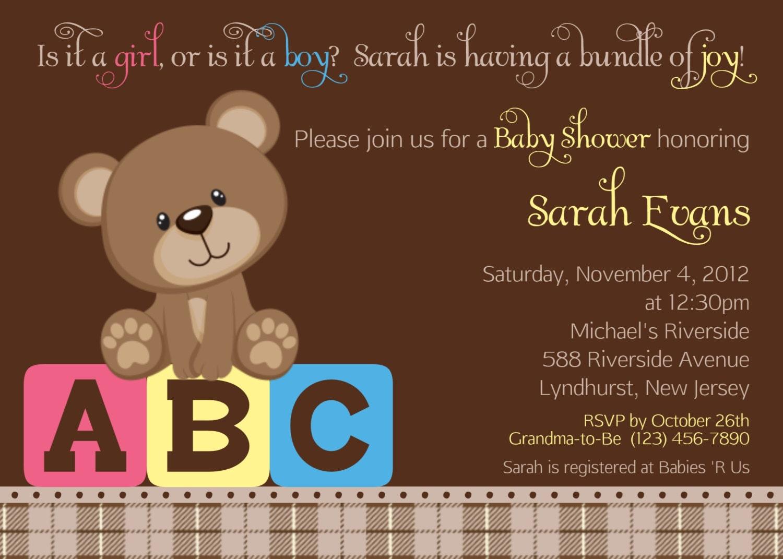 teddy bear abc invitation personalized by afairytalebeginning