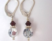 Red Swarovski crystal and sterling silver earrings by Cerise Jewelry