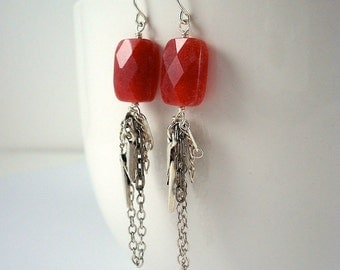 Faceted red quartz and chain tassel earrings with lightening bolt by Cerise Jewelry