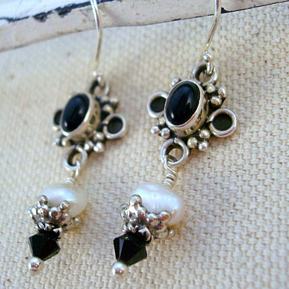 White pearl, black onyx and sterling silver earrings by Cerise Jewelry