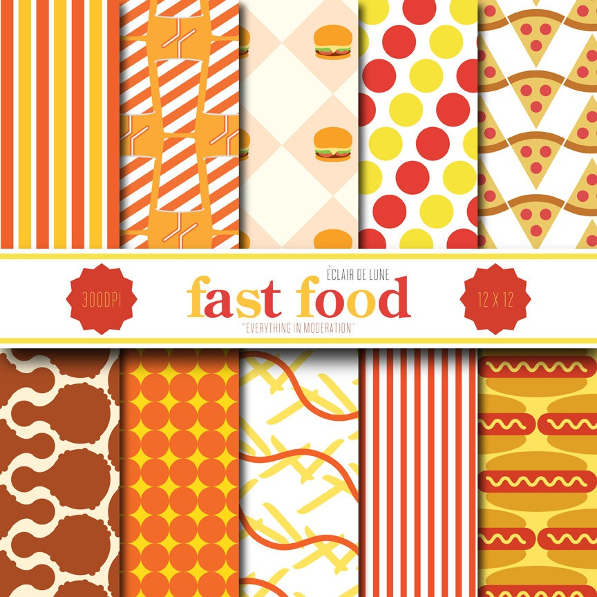 Fast food digital scrapbook paper red yellow by eclairdelune1 for Scrapbooking cuisine