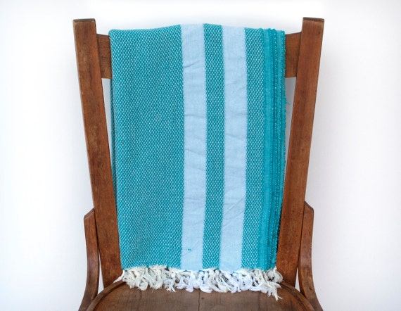 Turkish Bath Towel Lapis LAZULI PESHTEMAL Extra Soft Cotton Turkish Beach Towel Beach Wrap Throw Shawl Blanket Turkish Towel Turquoise White