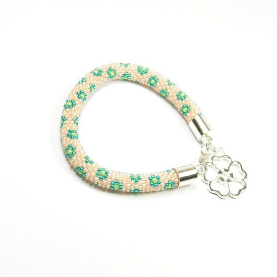 Bead Crochet Bracelet. Peach Bracelet with Green Flowers. Beaded Bracelet. Flower Bracelet. Colored Bracelet. Toho Seed Beads Bracelet.
