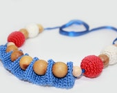 Red blue white Breastfeeding Necklace - Crochet Necklace for mom Nursing necklace - Teething necklace