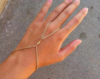22K Shiny Gold 3 Nugget Bead Hand Chain Slave Bracelet Harness