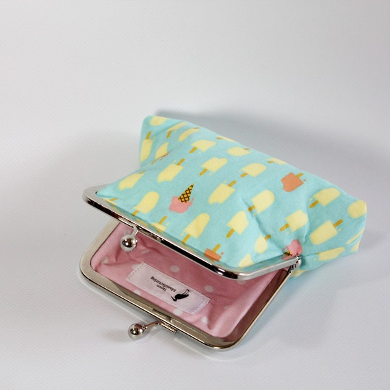 Ice Cream Clasp Purse - Wallet - Change Purse - Girls Purse - Popsicle - Ice Cream Cone - Polka Dot - Blue - Pink - Yellow - Orange - Cotton