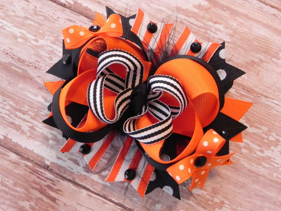 Halloween Boutique Layered Marabou Hair Bow - OTT over the top - Orange, Black - Stripes, Polka Dot - by sweetteabowtique