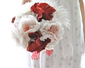 Red and white paper and fabric flower bouquet, red and white wedding bouquet of paper flowers