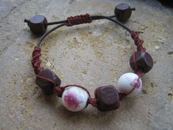 Ceramic Pink Flower and Chunky Wooden Beads Macrame Bracelet Handmade
