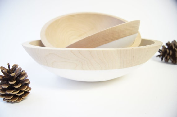 Wooden Nesting Bowls set of 3, Creamy White, CHERRY WOOD