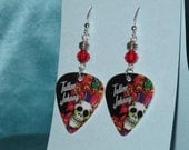 Handmade Tattoo Johnny Guitar Pick Earrings with Round Red Bead