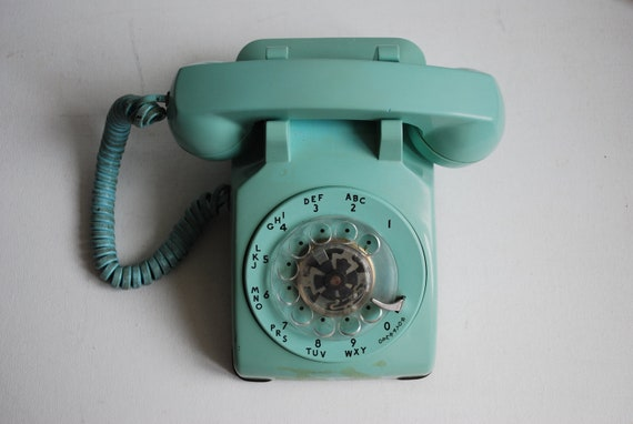 Light Turquoise Blue Rotary Phone - Telephone Working Office Collectable Home Decor Shabby Boho Chic Decoration