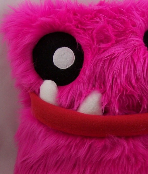 Monster pillow, 14 x 14 inch, handmade in Hot Pink faux polyester fur