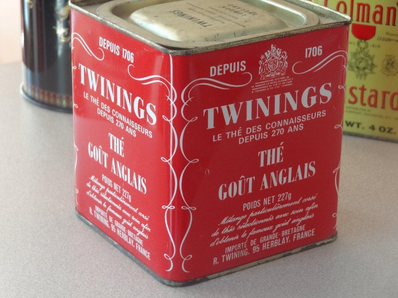 Vintage Twinings Tea Tin Red Antique Tin Tea Caddy