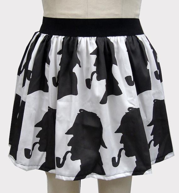 White & Black Detective Inspired Skirt