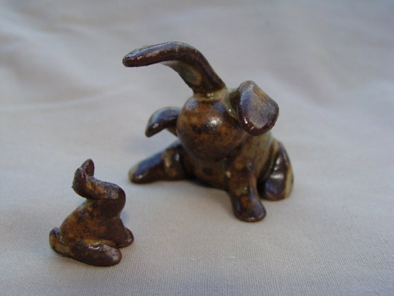 Ceramic Rabbit Sculpture - Momma Bunny with Baby Bun - Beyond Precious