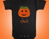 Jack O Lantern Black Bodysuit Shirt - Personalized Embroidered Applique - Short or Long Sleeved