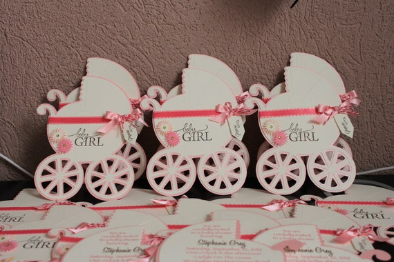 Items Similar To Baby Carriage Invitation Baby Shower Invitations