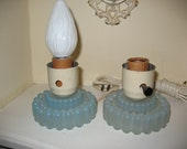 Blue Satin Glass Hobnail style Nightstand Lights Pair
