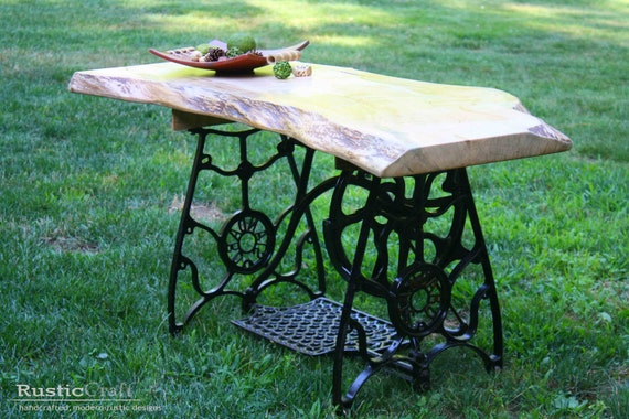 industrial coffee table upcycled sewing stand with curly. Black Bedroom Furniture Sets. Home Design Ideas