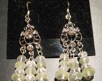 Earrings with Prehnite and Quartz