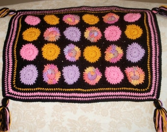 CLEARANCE Crochet Baby Blanket Colorful Tassel Edged