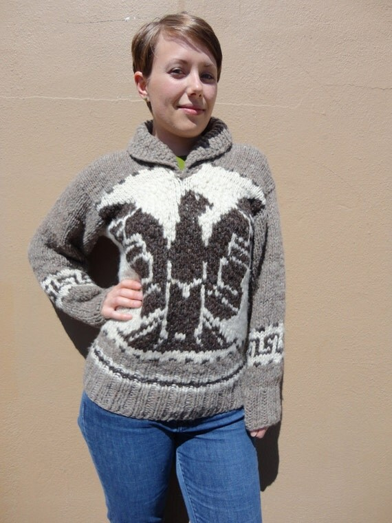 Retro Authentic Cowichan Pullover Sweater with Thunderbirds, Medium