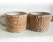 A Pair of Handmade Ceramic Coffee Cups, Spiral Decoration Ceramic Coffee Cups, Wax Resist Design Coffee Cups, Spiral Design Coffee Cups