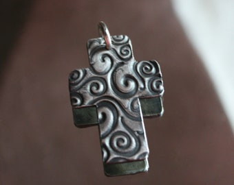 Sterling Silver Whimsy Cross Wax Seal Charm