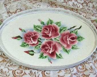 Tray Glass W/Roses - HM roses on Handles Numbered  Serving Tray