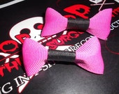 2 adorable yet sophisticated pink and black bows - rocker/punk/kawaii/pretty/affordable - one of a kind so buy it while it lasts