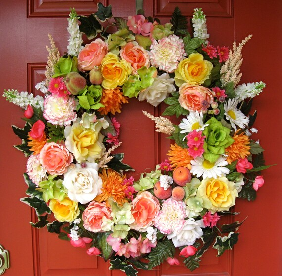 SALE, Lush Coral Rose and Fruit Wreath, XXXLarge