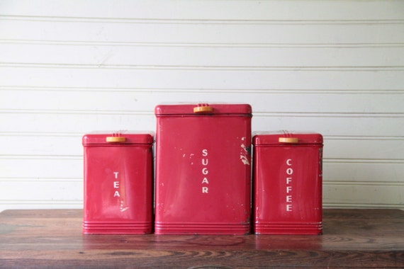 vintage red metal kitchen canisters kreamer brand by