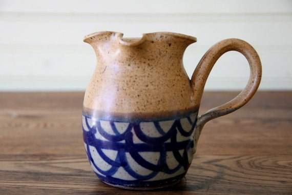 Vintage Vermont Pottery Pitcher Handmade Potters Wheel Blue Brown Tan Speckled Syrup Creamer