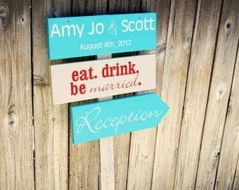 Personalized Wedding Directional Signs Bride and Groom Last Name and Wedding Date Signs