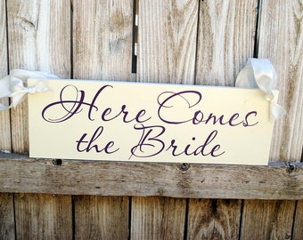 "Long Here Comes the Bride Flower Girl Sign 8""x22"""