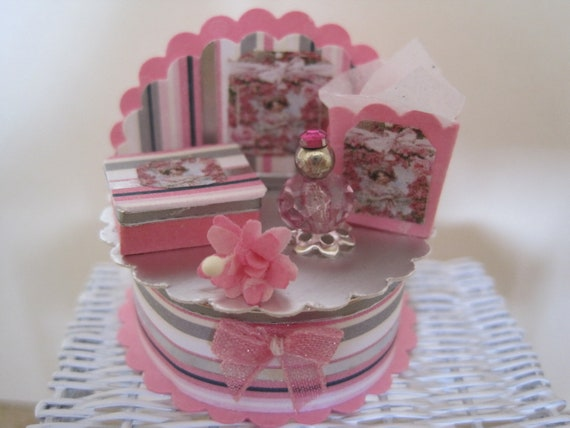 REDUCED 12th Scale (Dollshouse)  Pretty Perfume Display Stand in Pink and Silver