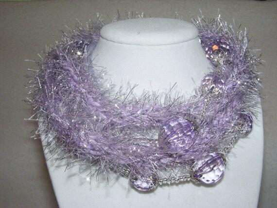 Soft Jewelry Lavender eyelash knitted necklace