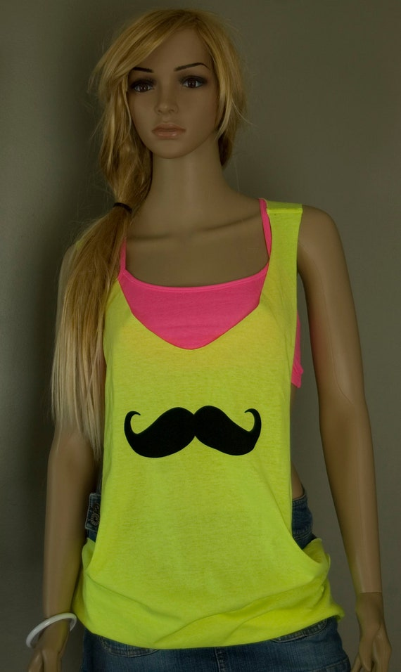 Neon Yellow Mustache Hand Cut  Low Sides Tank Top Shirt