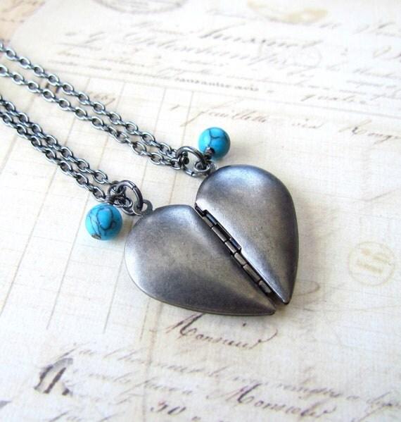 Half Heart Locket Set and Turquoise Necklace,  Vintage Inspired Dark Antique Silver Best Friend Heart Locket Necklace