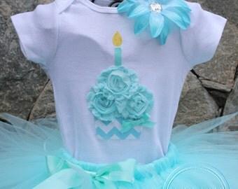 AQUA CHEVRON --Birthday Girl Cupcake Bodysuit or Shirt Only, sizes Newborn-5T