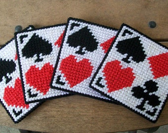 Plastic Canvas Playing Card Coasters - Hand Stitched